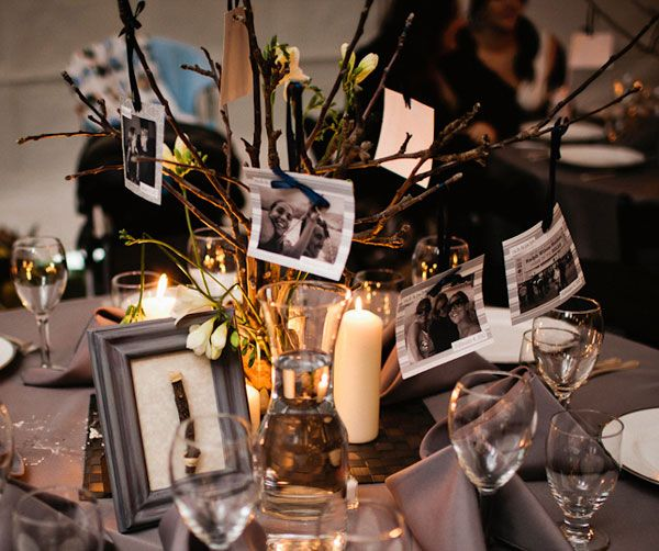 Love This Idea To Incorporate Pictures Into Your Centerpiece Shown
