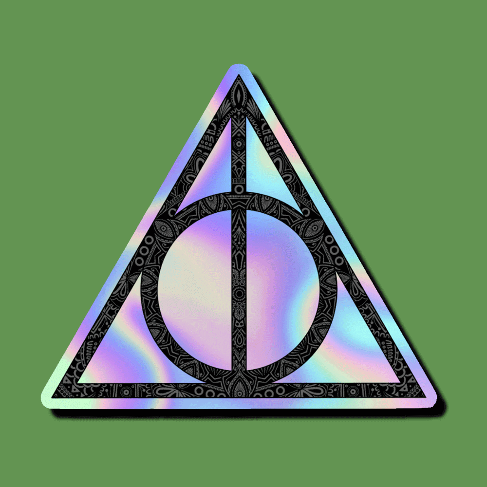 Show Your Love Of Harry Potter With This Holographic Sticker Of The Deathly Hallows Symbol Great For Water Deathly Hallows Symbol Holographic Deathly Hallows