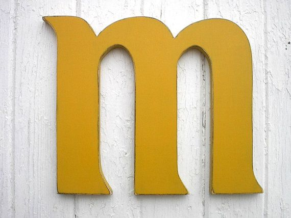 Personalized Wooden Wall Letter m Distressed by LettersofWood ...
