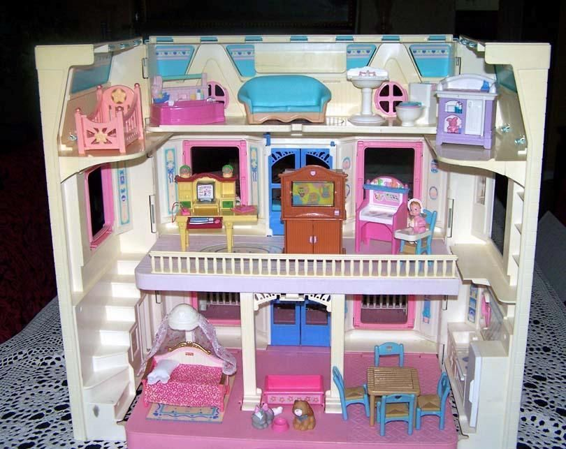 Fisher Price Loving Family 1993 Dream Fold Up Dollhouse Furniture