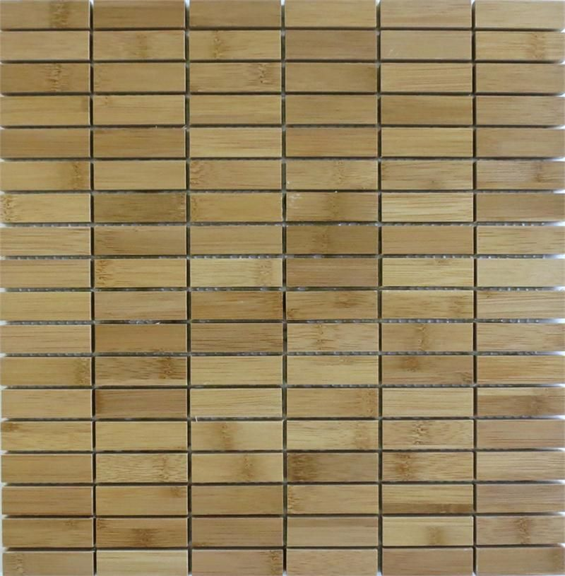 Harvest Bamboo Mosaics eco-friendly and sustainable Natural Wood Mosaic Stacked Columbian Roast 1/2x2 tile
