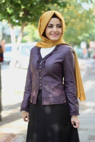 bb6fe948723d6 1201-4002-24 Deri Ceket - Mor, Tesettür giyimin en yeni modelleri uygun  fiyat ve ücretsiz iade garantisi ile Alâtesettür.com da!
