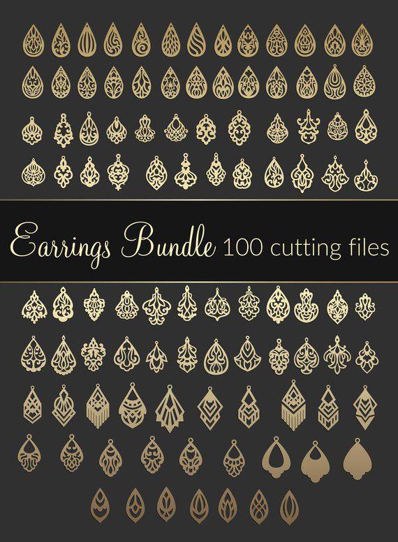 Photo of 100 SVG Earrings bundle – Dxf Eps CDR – cricut maker –  digital download – Laser cut Leather Jewelry making