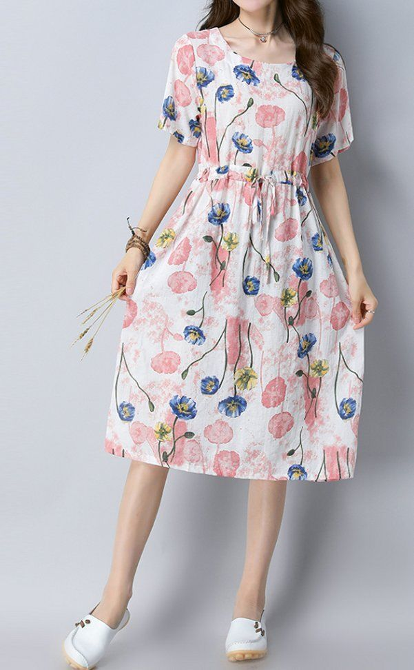 Women loose fit flower dress short sleeve tunic drawstring casual summer chic