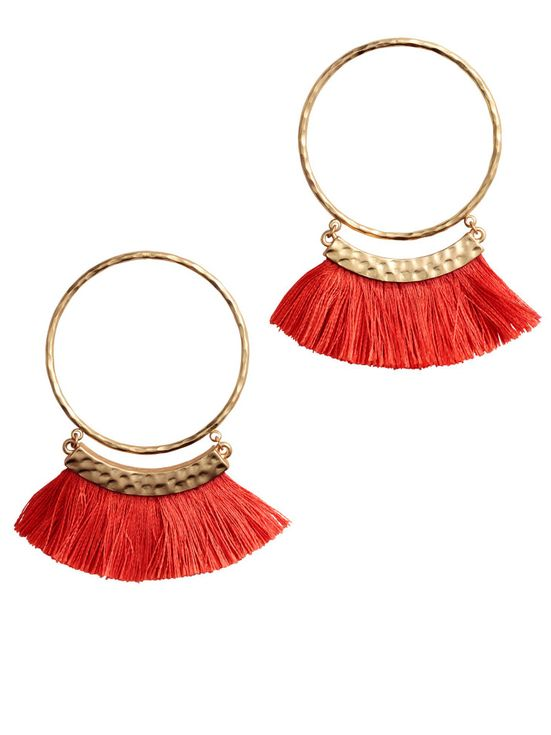 H&M fringe hoop earrings