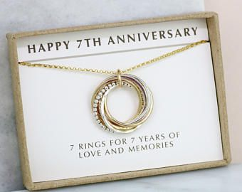 7th Anniversary Gift For Her 7 Year Wedding Interlocking Rings Necklace