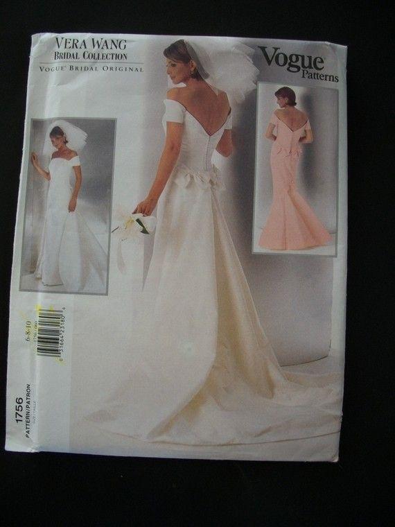 Vogue Bridal Patterns Vera Wedding Gown Pattern 1756 Size 6 10