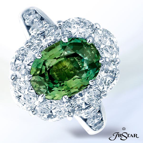 """Style 0612 Gorgeous """"No-heat"""" green sapphire and diamond ring exquisitely…"""