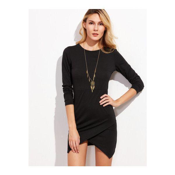 57ed169986 SheIn(sheinside) Black Asymmetric Hem Bodycon Dress (42 BRL) ❤ liked on Polyvore  featuring dresses, black, long sleeve stretch dress, longsleeve dress, ...