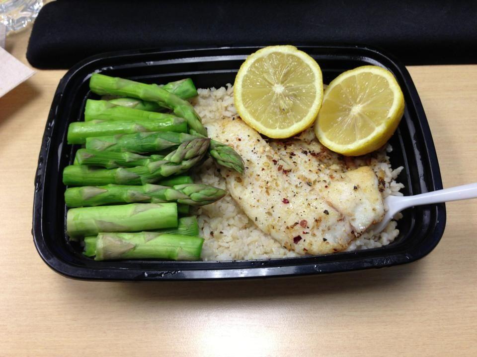 Clean eating fish and veggies