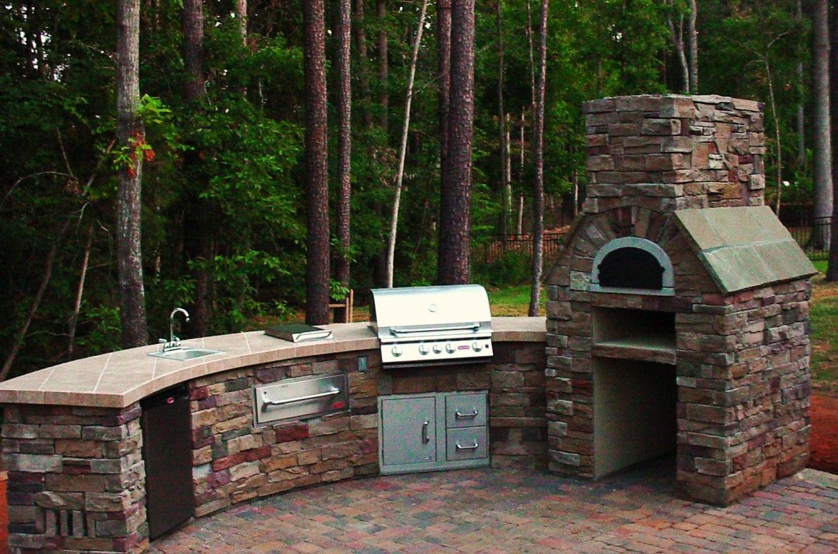 Awesome Backyard Kitchen Design Brick Stone Grill Island ...