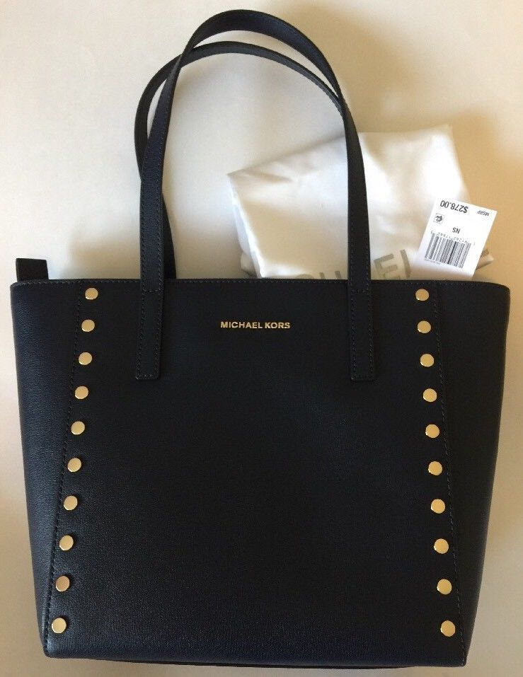 1c5cb1cbab6cb Michael Kors Purse handbag NWT Rivington Studded Navy Blue Leather Med Tote  Bag