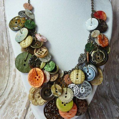 Buttons necklace by hangingbyathread1 on Etsy