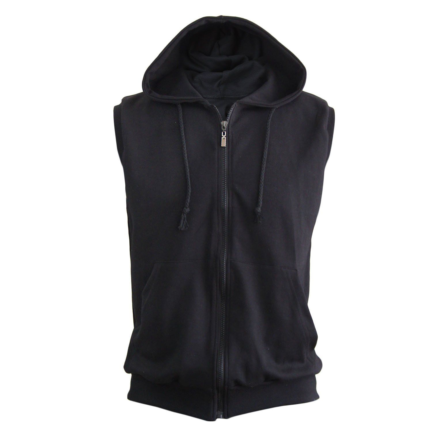Black Sleeveless Hoodie | Fashion Ql