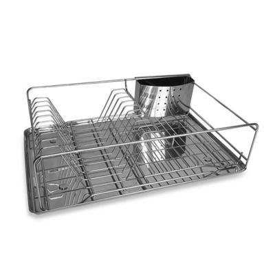 buy compact stainless steel dish rack with drain board from bed bath beyond kitchen. Black Bedroom Furniture Sets. Home Design Ideas