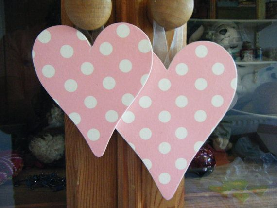 Pair of Pink polka dot decoupage hearts with by DriftwoodandDebris, £7.50