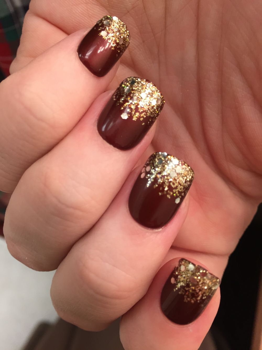 Maroon And Gold Nails