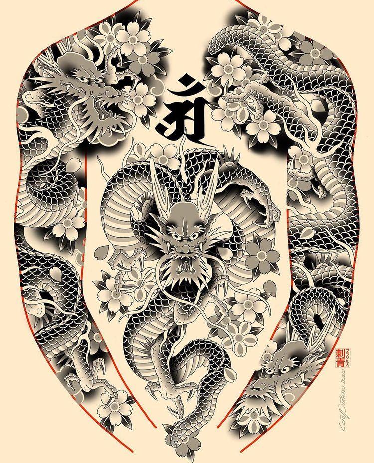 """心 KOKORO TATTOO LONDON 🖤 on Instagram: """"#dragons project by @caiopineiro . For bookings email caiopineiro@hotmail.com"""""""