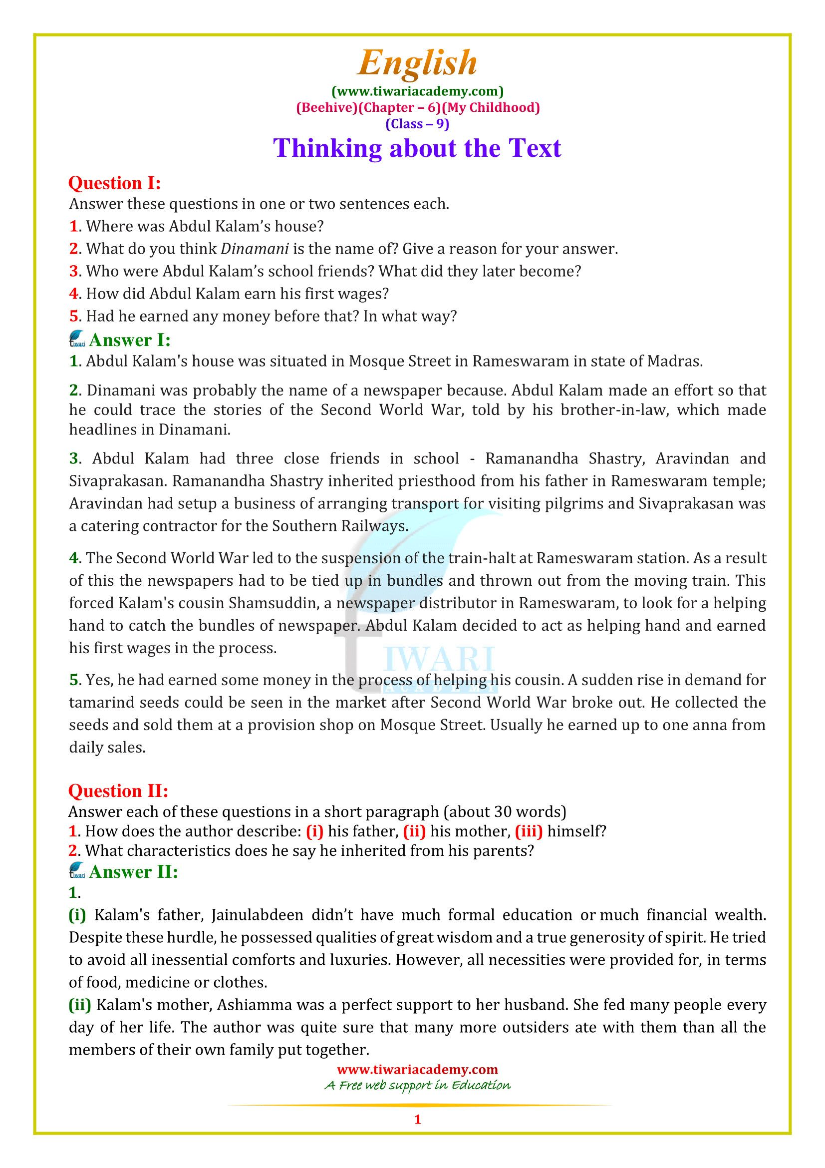 hight resolution of 4 Reading Comprehension Worksheets Sixth Grade 6 9 English NCERT Solutions  BeeH…   Reading comprehension worksheets