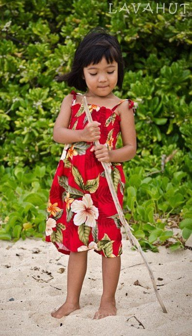 Makaha Red Sunkiss Hawaiian Girl Dress | Girls hawaiian