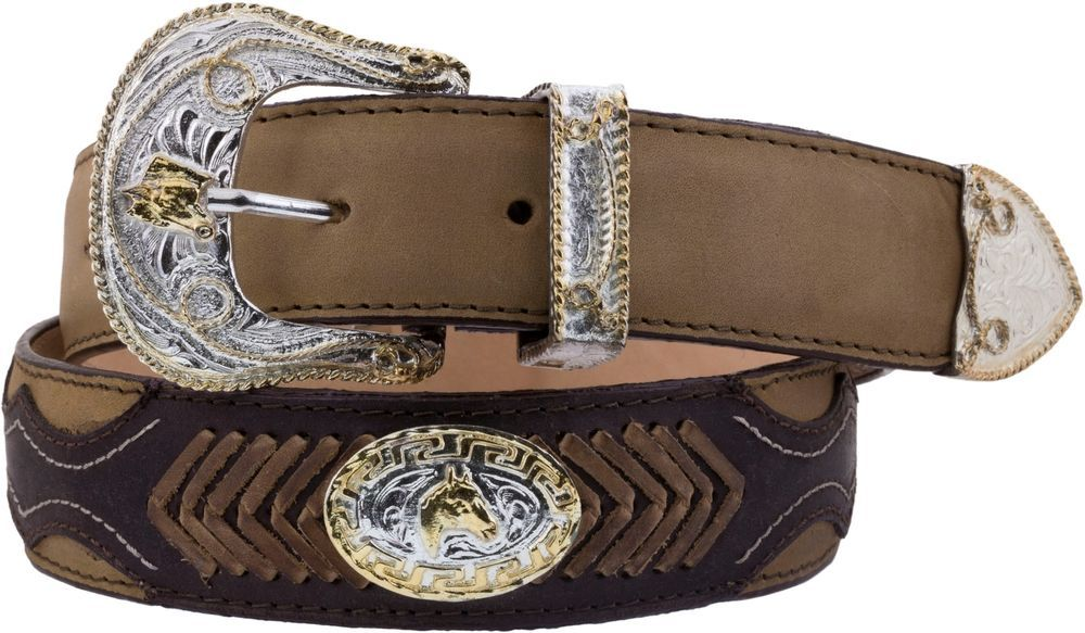 Mens Brown Concho Style Leather Overlay Western Cowboy Belt Silver