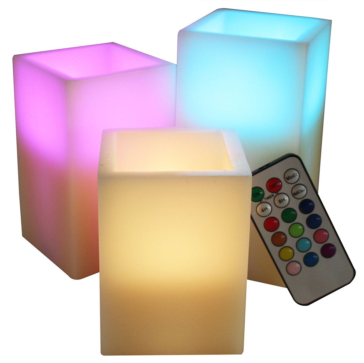 Led lytes square flameless candles color changing remote control