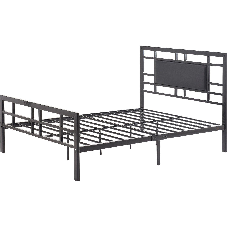 Queen Modern Platform Bed Frame In Black Metal With Upholstered ...