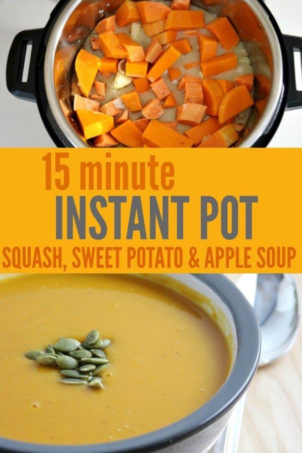 15 minute Instant Pot Squash Soup #butternutsquashsoup