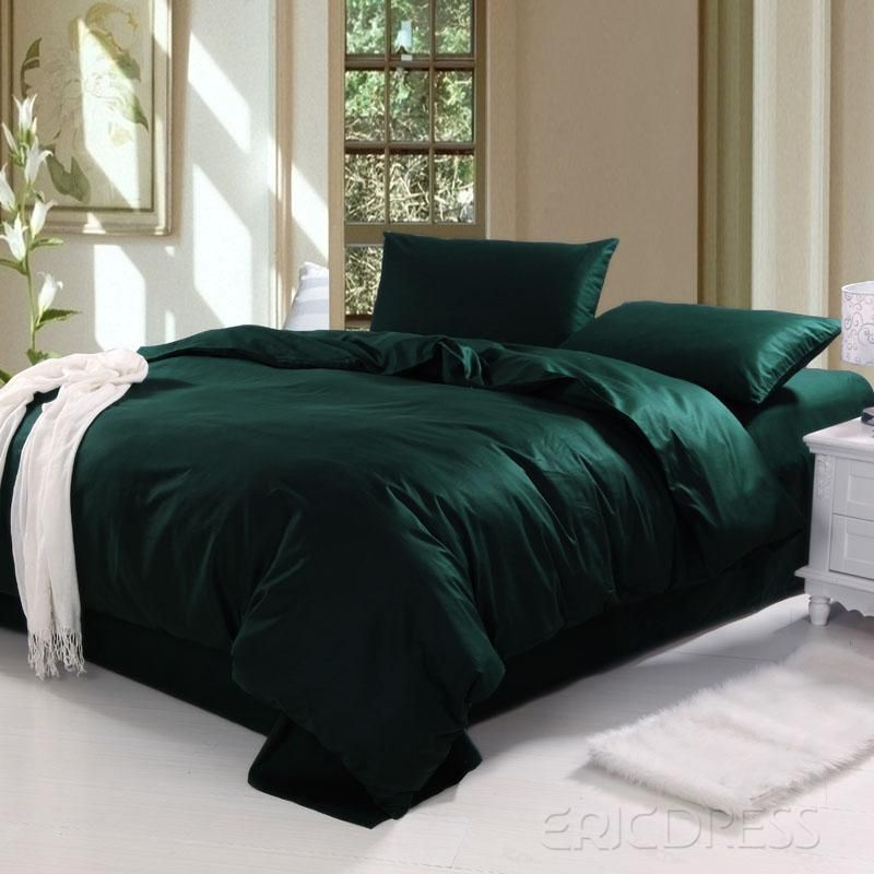 Dark Green Duvet Cover With Images Green Bedding Urban