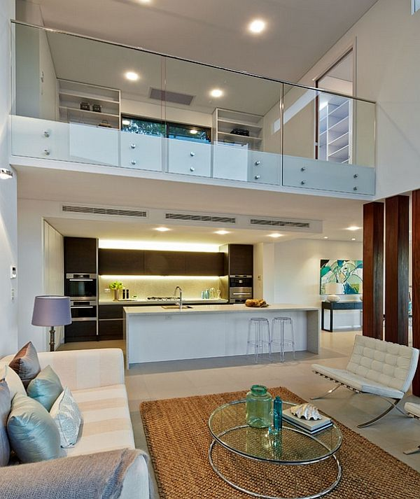 Contemporary living room in white with glass fence for mezzanine floor mezzanine ideas