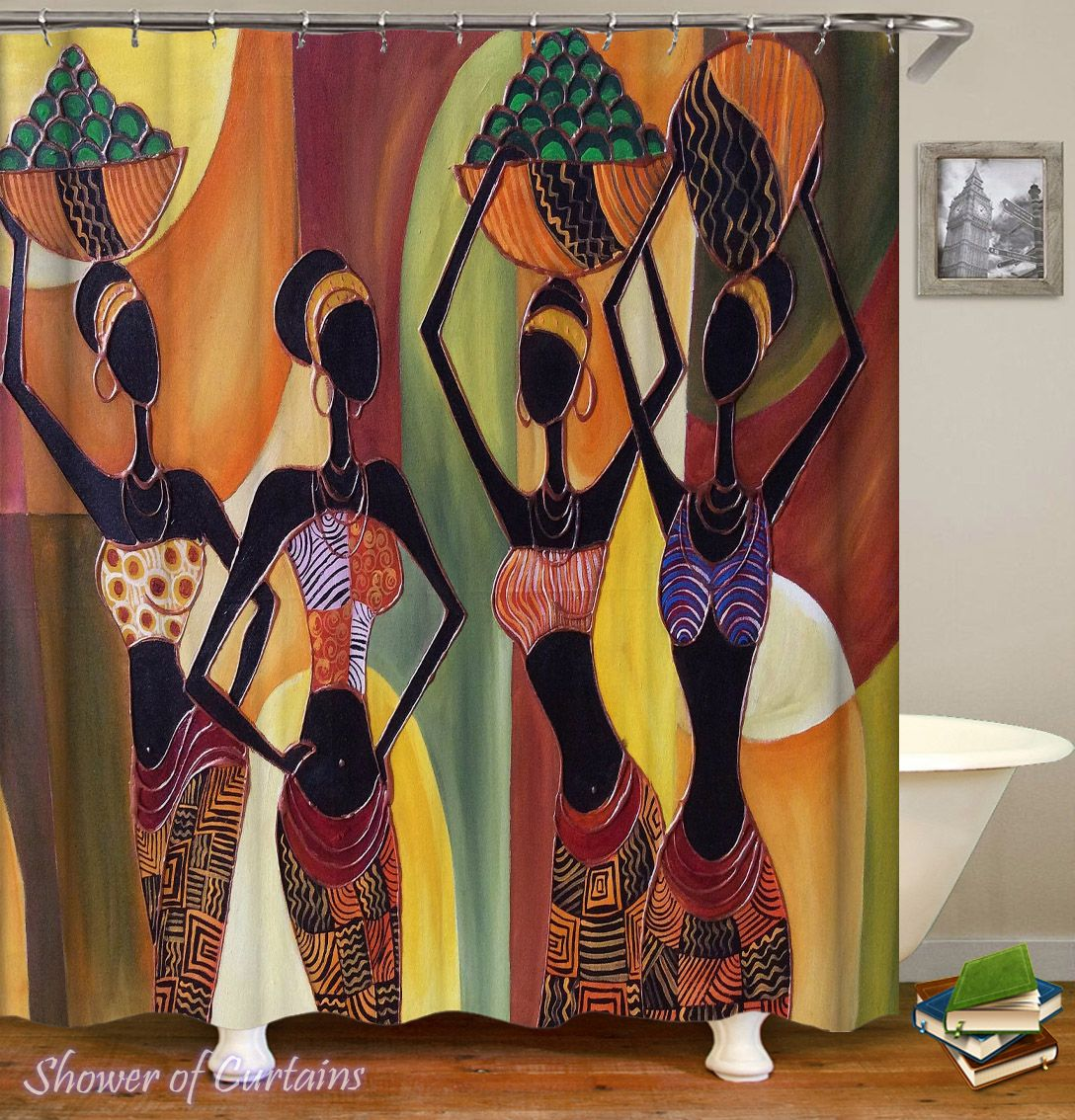 Colorful African Ladies Shower Curtain - HXTC0705