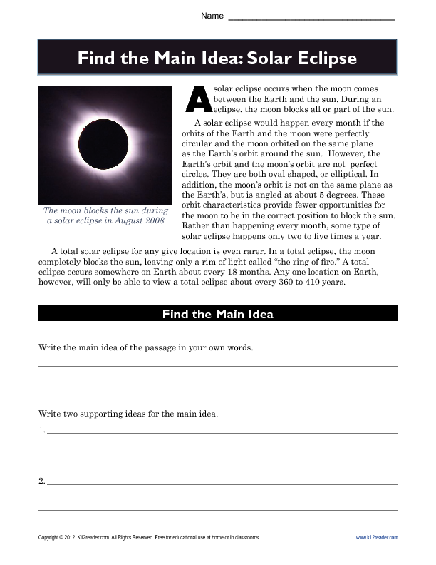 High School Main Idea Worksheet About Solar Eclipses | Pinterest ...
