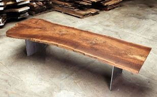 Tree Slab Bench Could Use Wooden Legs Sign For Guest