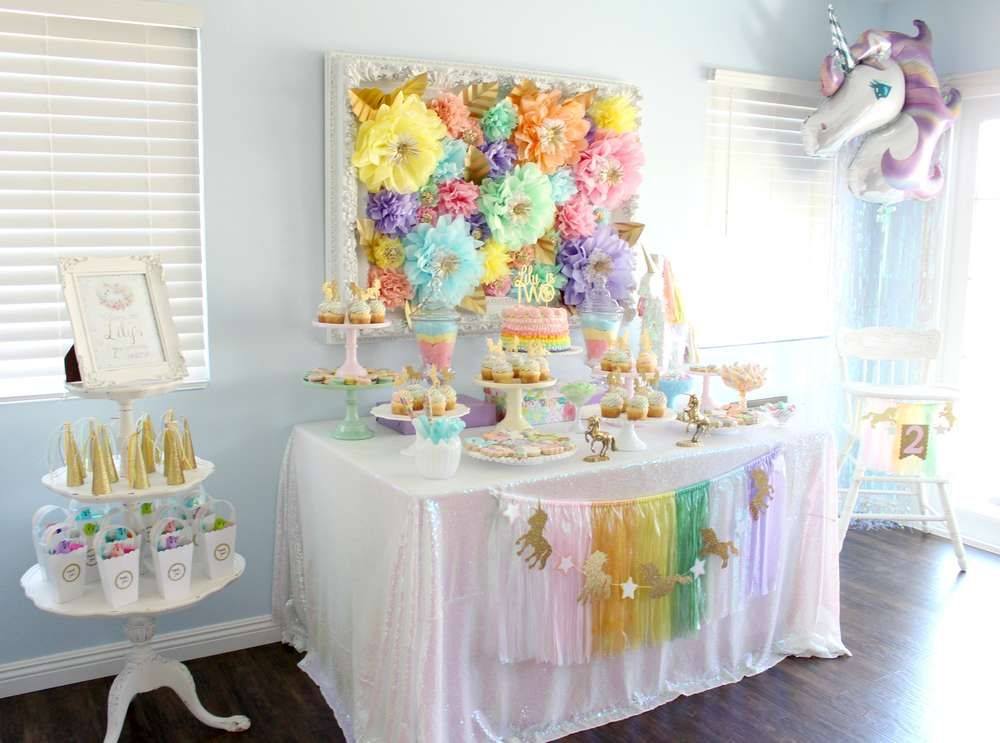Pretty pastel unicorns & rainbows birthday party! See more party ideas at CatchMyParty.com!