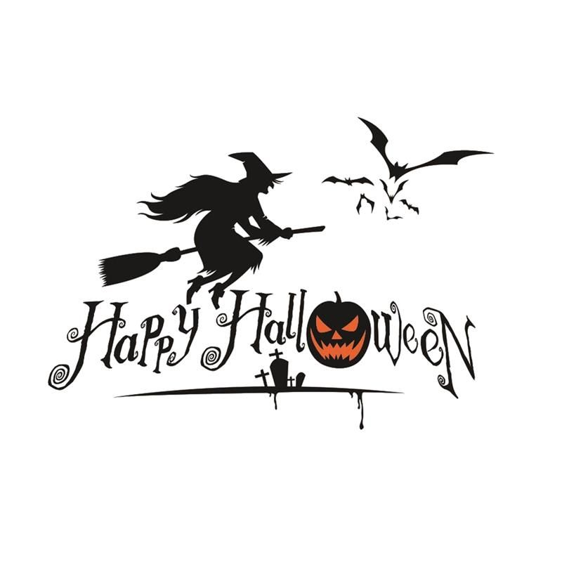 Happy Halloween Pumpkins Spooky Cemetery Witch and Bats Tomb Wall - halloween decorations witch