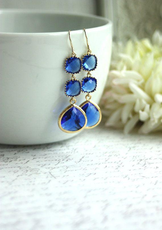 Double Long Dangle Cobalt Blue Glass Framed French Hook Drop Earrings.  Modern. Blue Wedding Bridal Bridesmaids Earrings