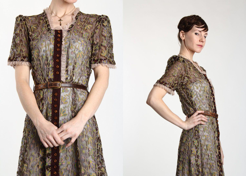 Rare s embroidered dress sheer shirtwaist s by veravague