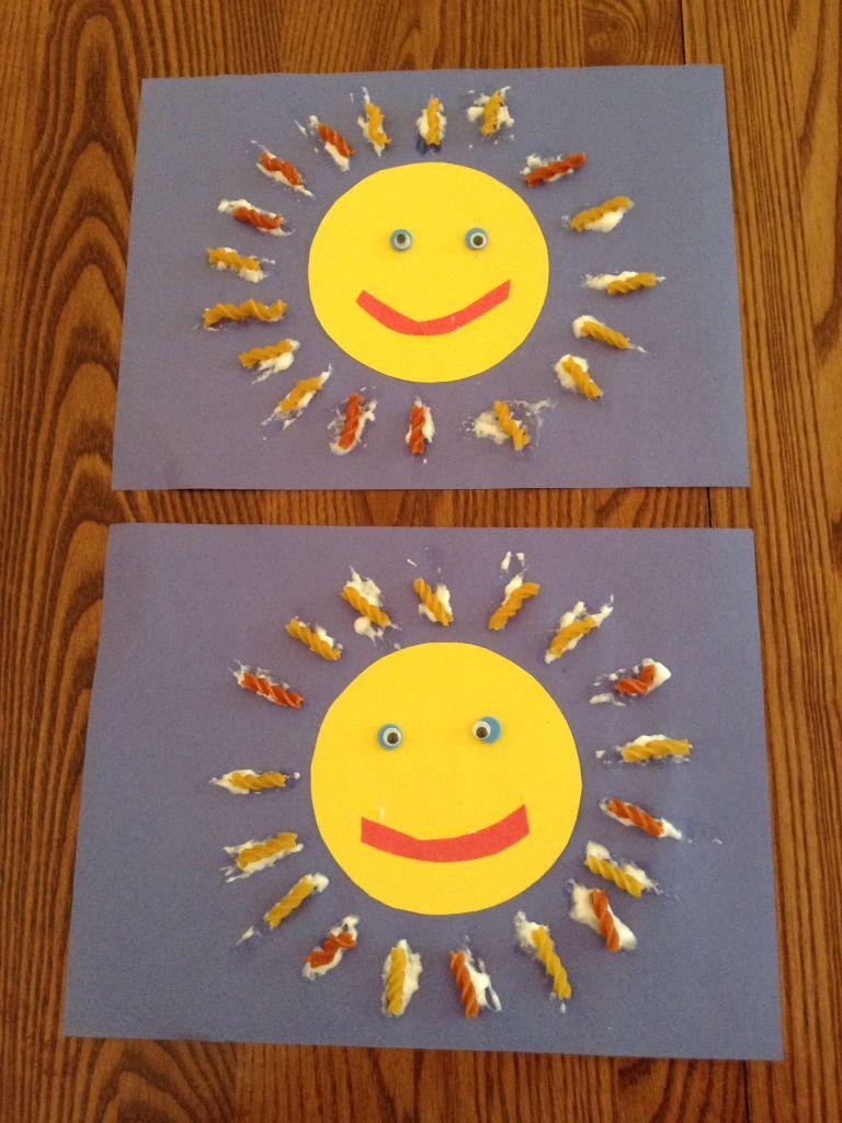 Soleil avec des p tes alimentaires enfants pinterest p tes soleil et activit - Activite manuelle ete ...