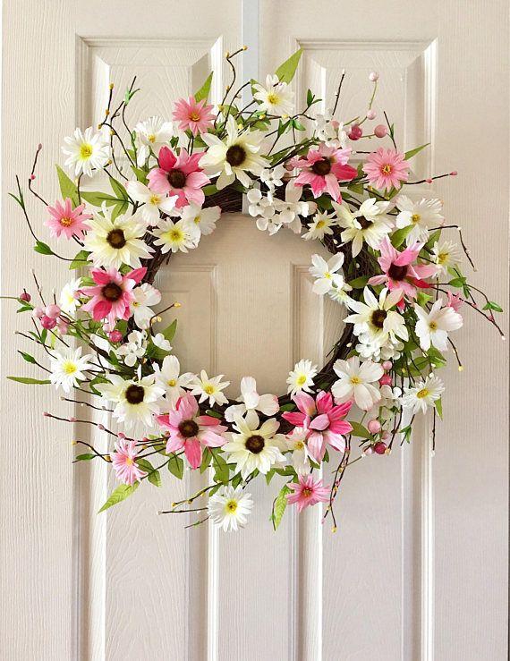 Superieur Wreath For Front Door, Summer Wreath, Spring Wreath, Floral Wreath, Front  Door