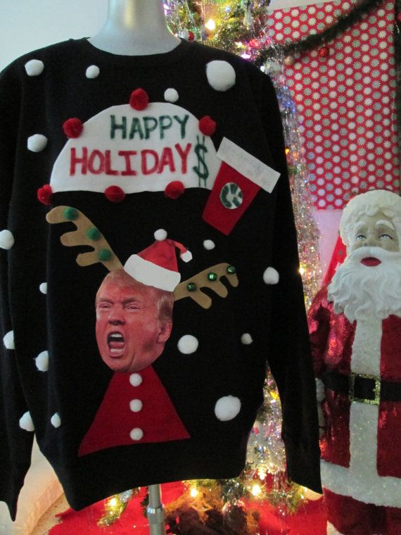Ugly Christmas Sweater Donald Trump Happy by Thecostumestop