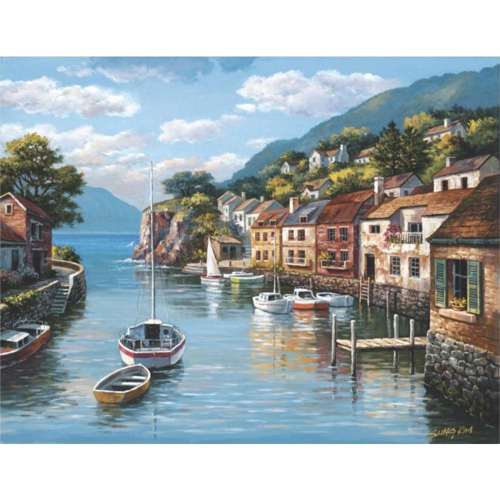 Village On The Water Mediterranean Landscape Wall Art For Restaurant Home Wall Landscape Wall Art Mediterranean Landscaping Art Pictures