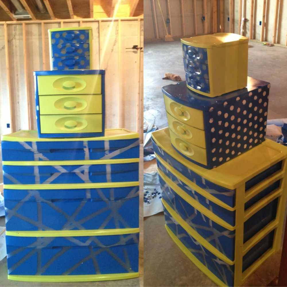 Painted sterilite drawers just use krylon spray paint for for Painting plastic bins