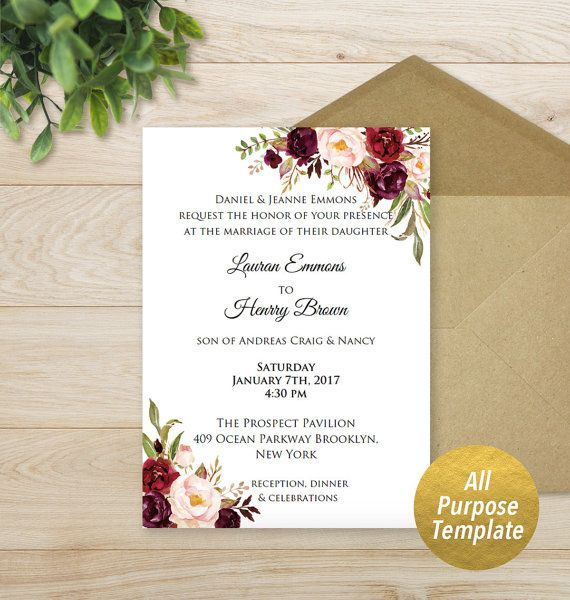 All Purpose Burgundy Floral Template Printable Bridal Shower Baby