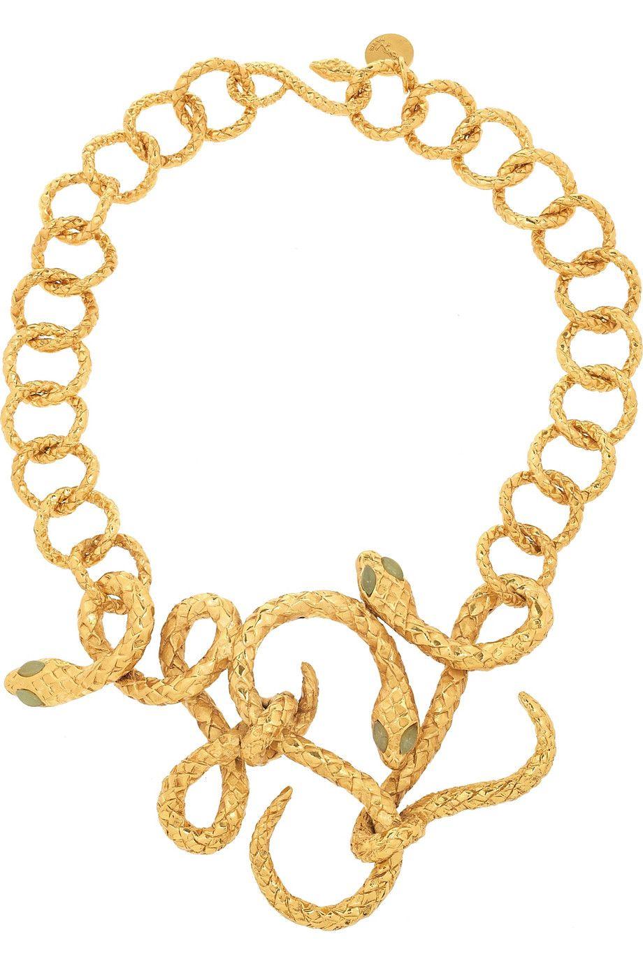 Golen serpentine chain and jade yves saint laurent necklaces