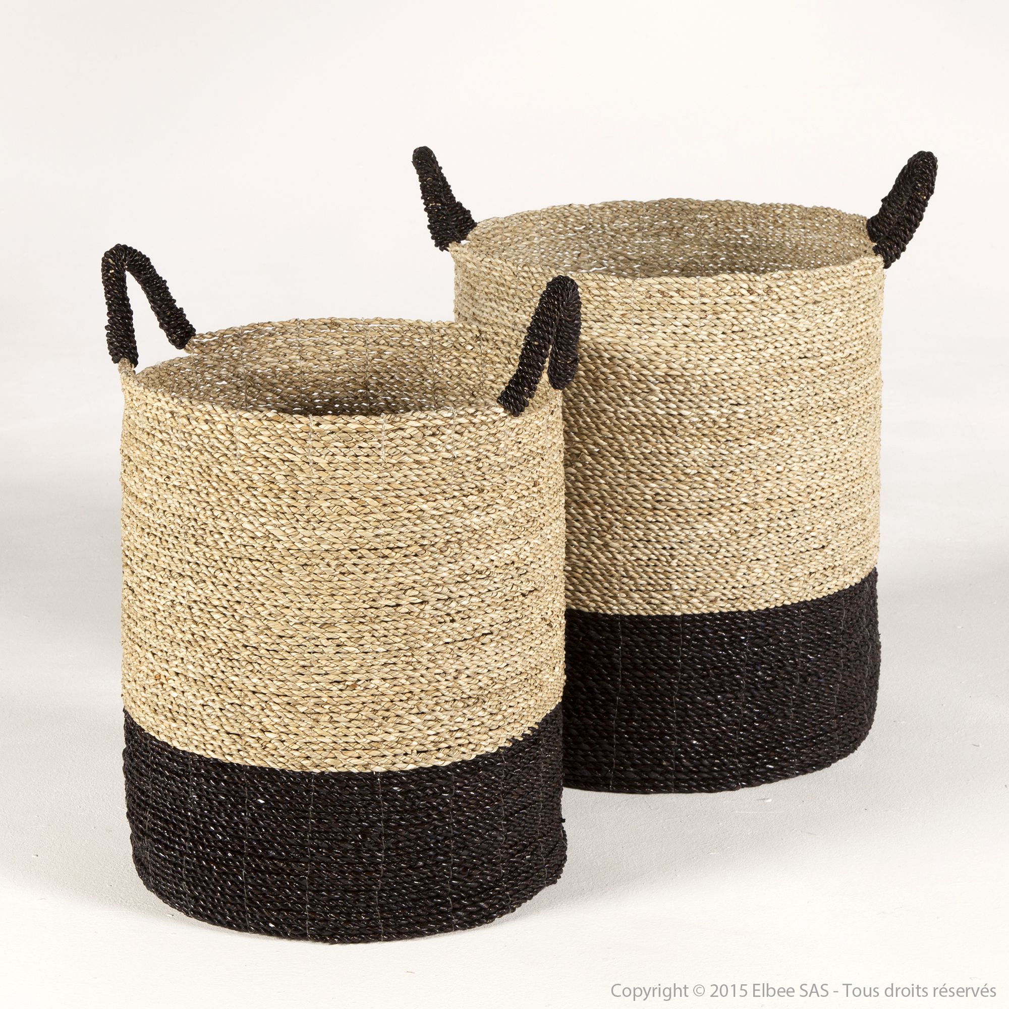 panier de rangement en jonc de mer torsad bicolore noir daytona house bay en solde d co. Black Bedroom Furniture Sets. Home Design Ideas