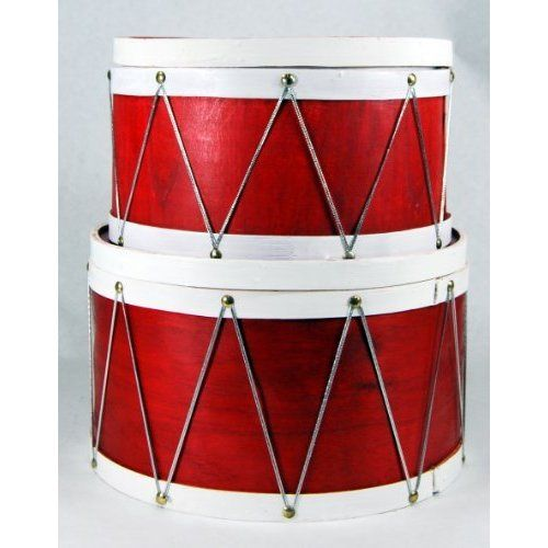 Christmas Drum Decor.Decor Large Red Wood Drum Nesting Gift Boxes Bowls 12 Home