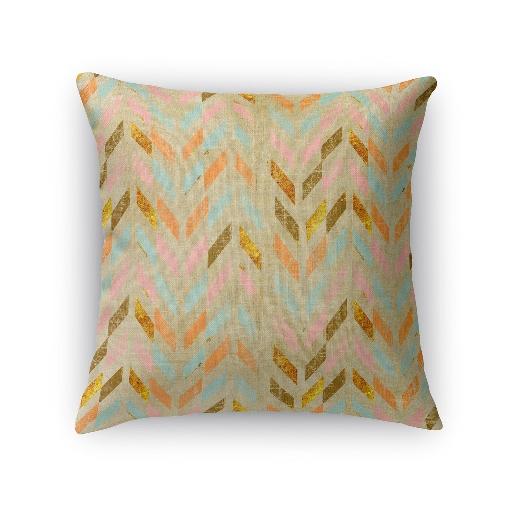 Kavka Designs pink/ teal/ brown palermo accent pillow with insert (18X18)(Polyester, Chevron)