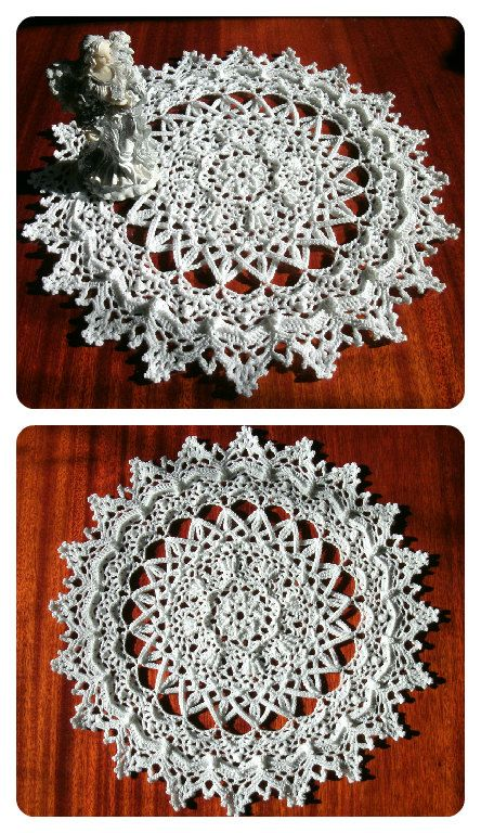 Charity White doily 13 inches Crochet round doily Textured relief ...
