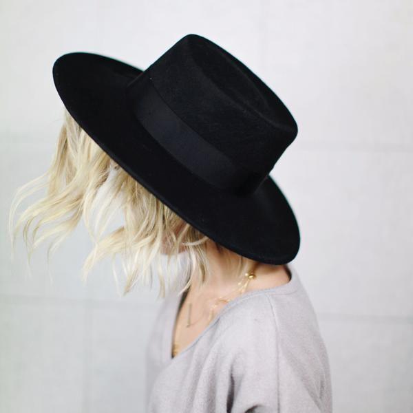 528f4a0b96a6d9 Ramona - Flat Top Black Felt Hat – GIGI PIP | Hats in 2019 | Hats ...