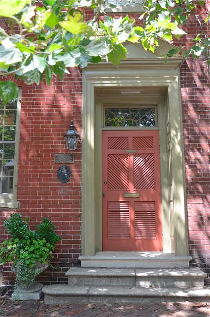 Interesting How The Door Color Compliments The Brick Like The Sage Trim With The Brick As Well Beautiful Doors Coral Door Front Door Colors